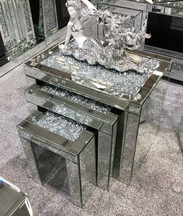 Diamond Crush Crystal large Nest of 3 Tables item in stock