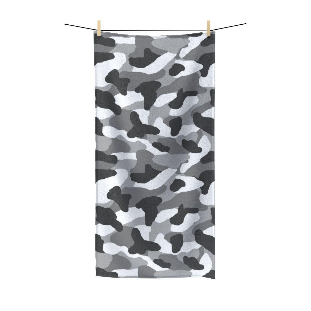 Camo Bath Towel Gray Grey Camouflage Beach Bathroom Polycotton