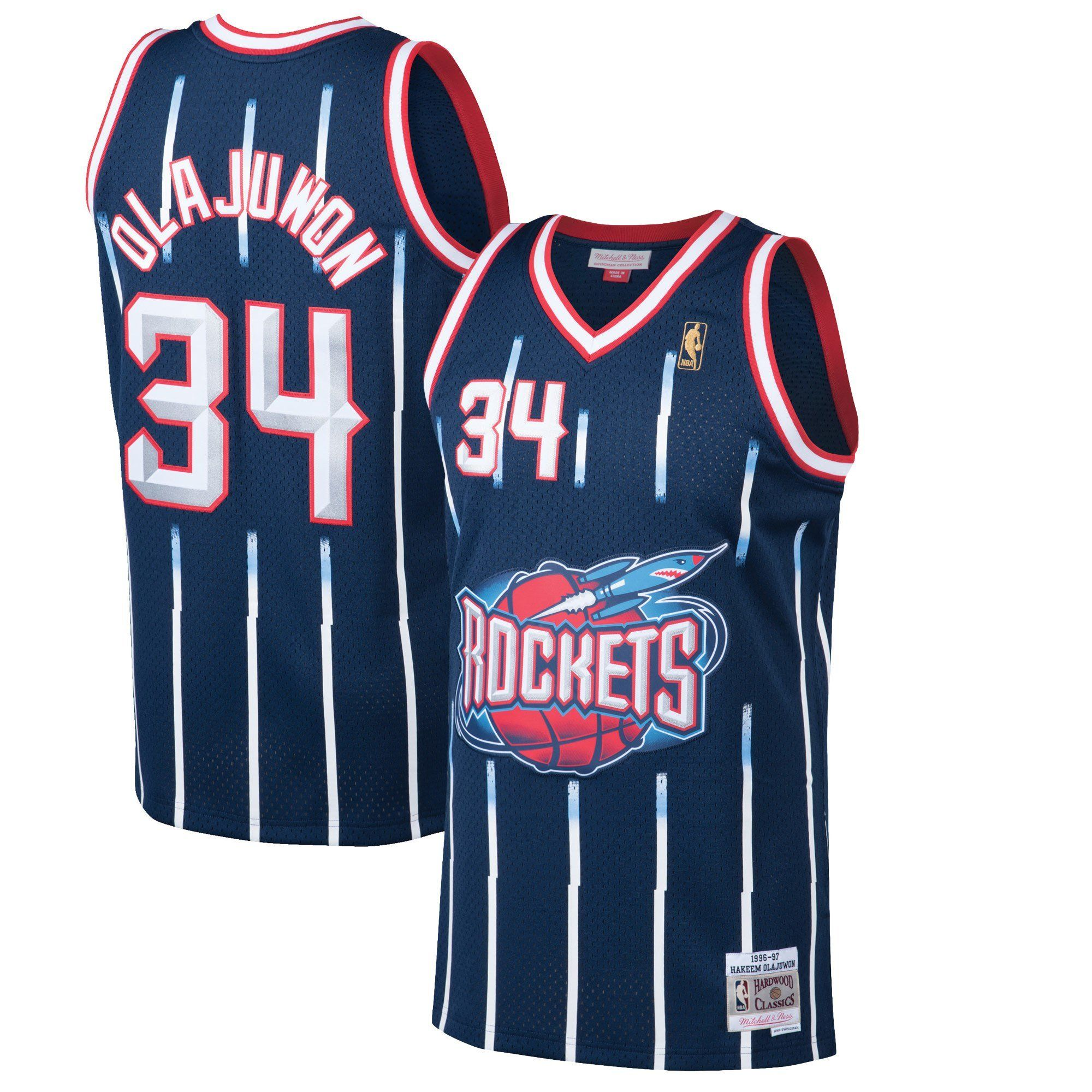 1f3f7bcf7 Men s Houston Rockets Hakeem Olajuwon Mitchell   Ness Navy 1996-97 Hardwood  Classics Swingman Jersey