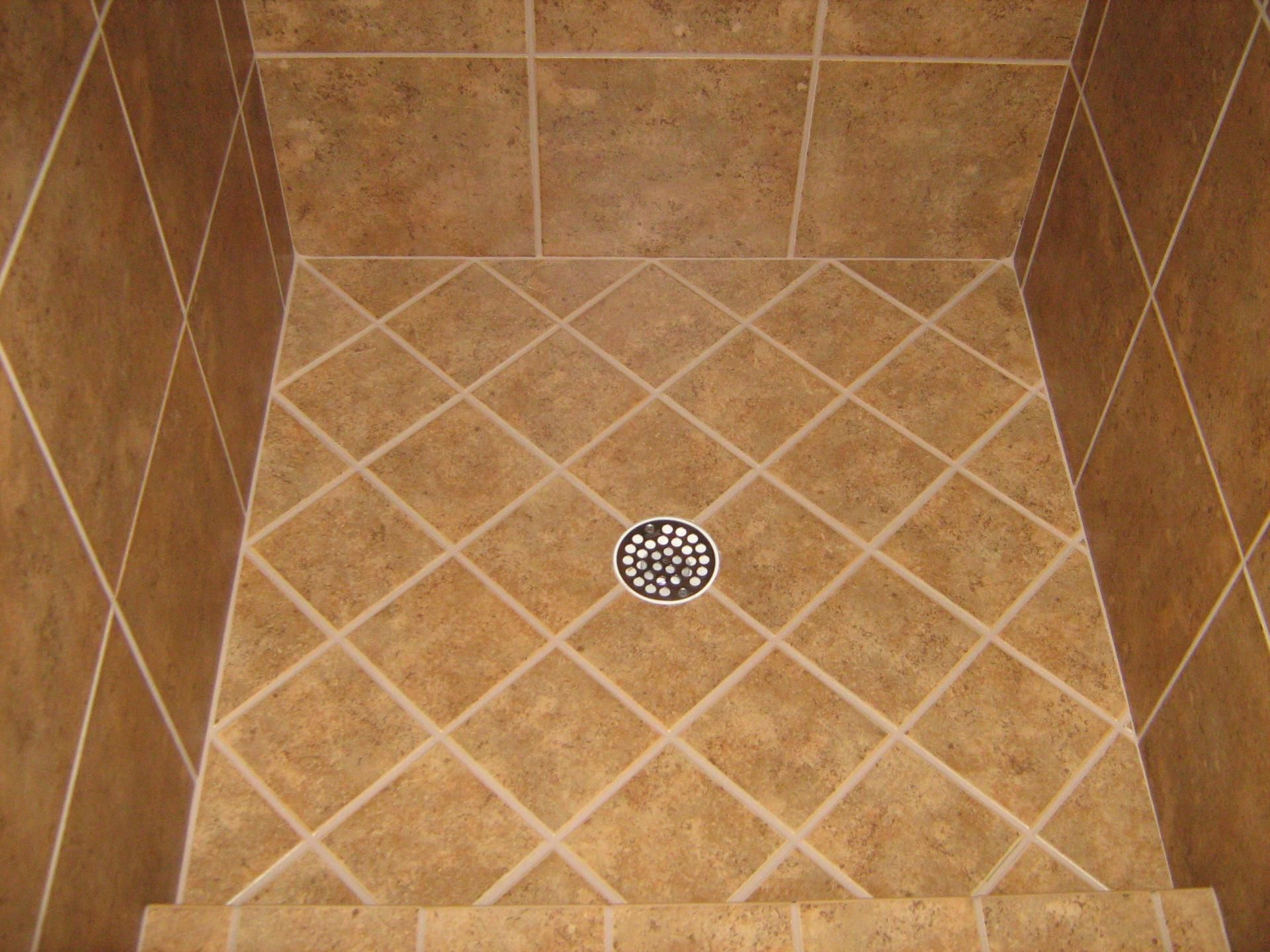 Floor Shower Floor Tile For A Shower With A Square Shape At
