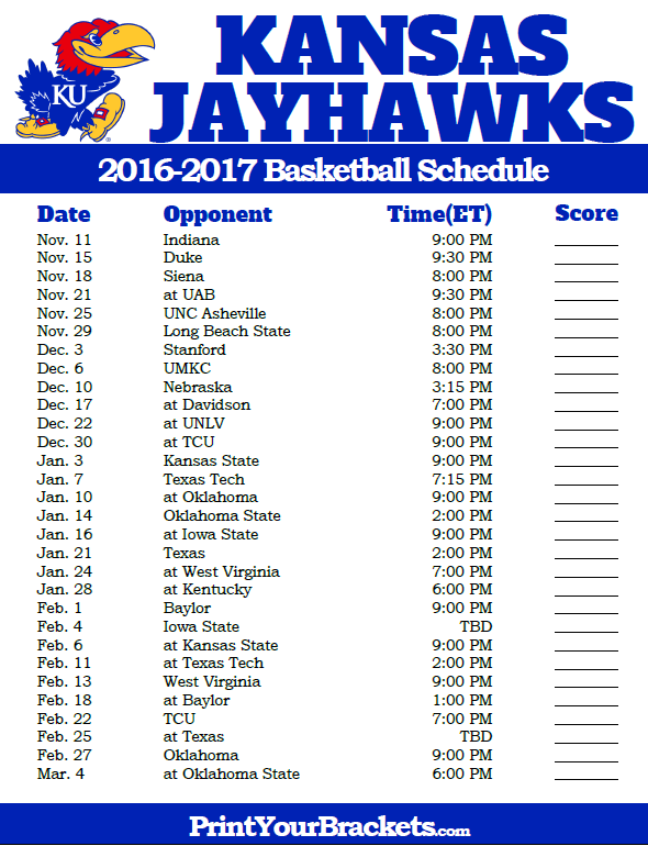 photo relating to Ku Basketball Schedule Printable known as Kansas Jayhawks 2016-2017 Higher education Basketball Timetable