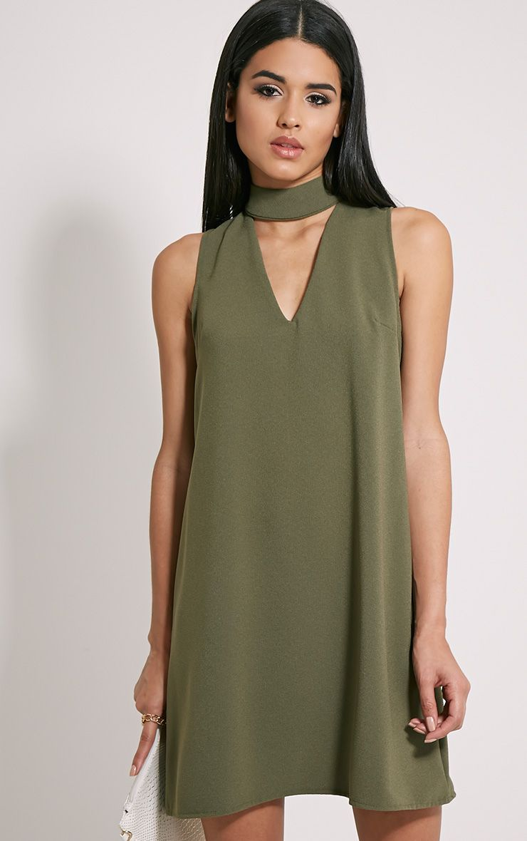 107aef272e5d Cinder Khaki Choker Detail Loose Fit Dress Image 1