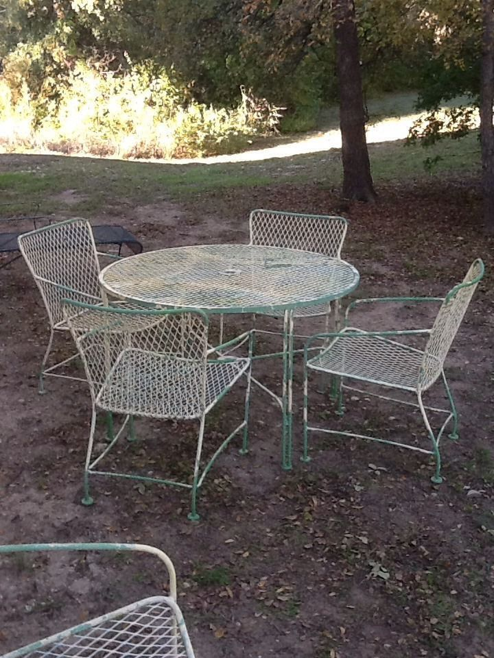 Vintage Mid Century Modern Wrought Iron Patio Furniture 6 Piece