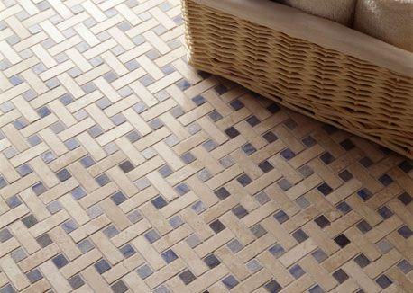 Strip Basket Weave Mosaic Floor Blue Dot Riskier But