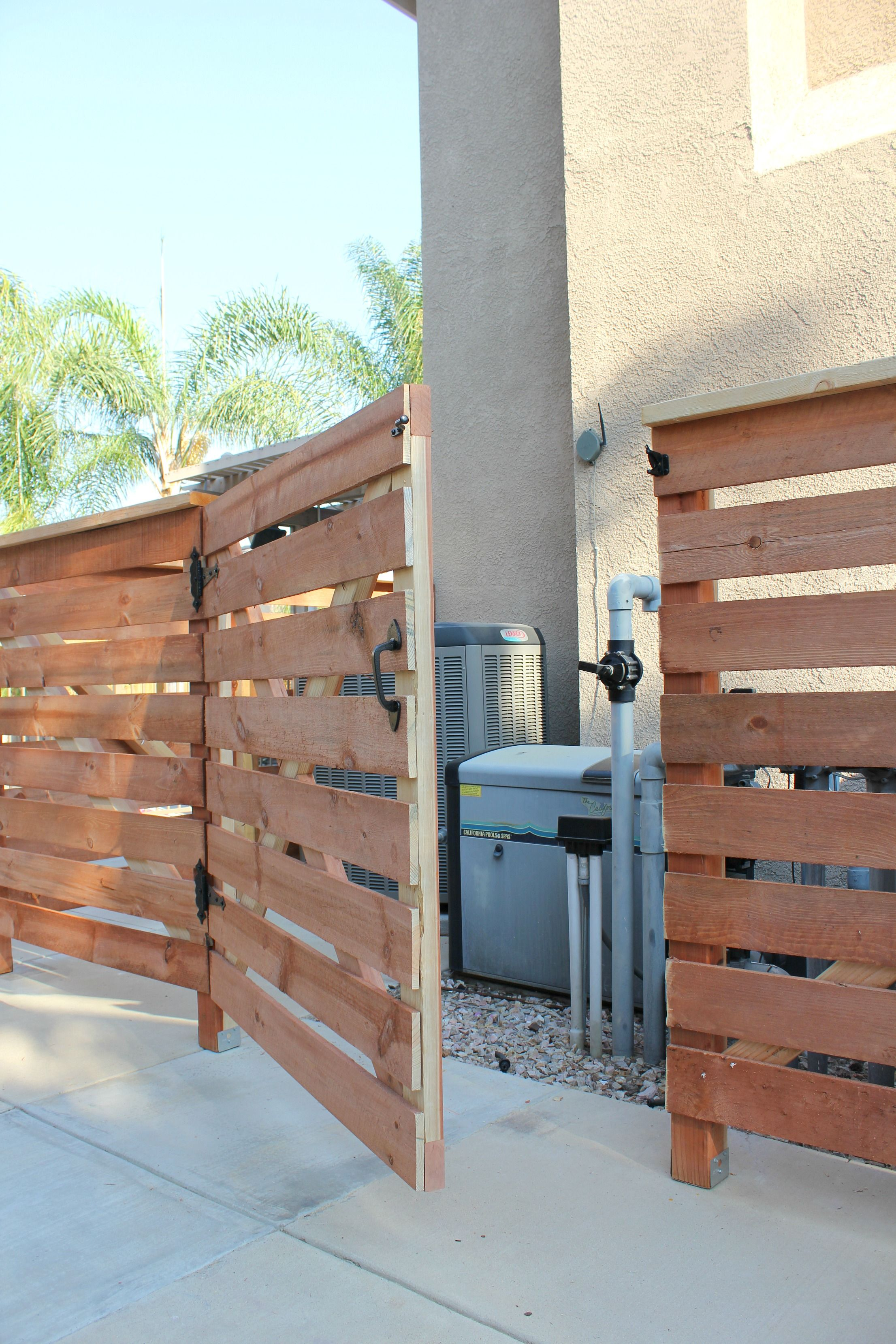 hide pool equipment with diy fence gate (With images