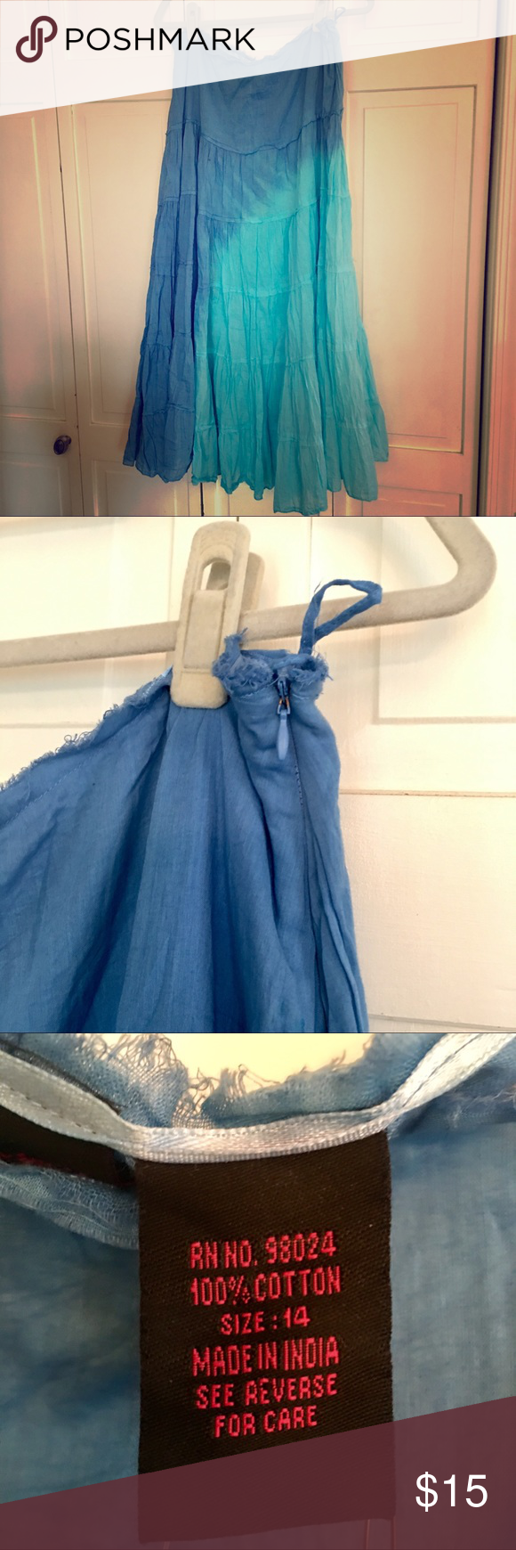 Ombré Dip dyed tiered crinkle skirt by Willi Smith NWT