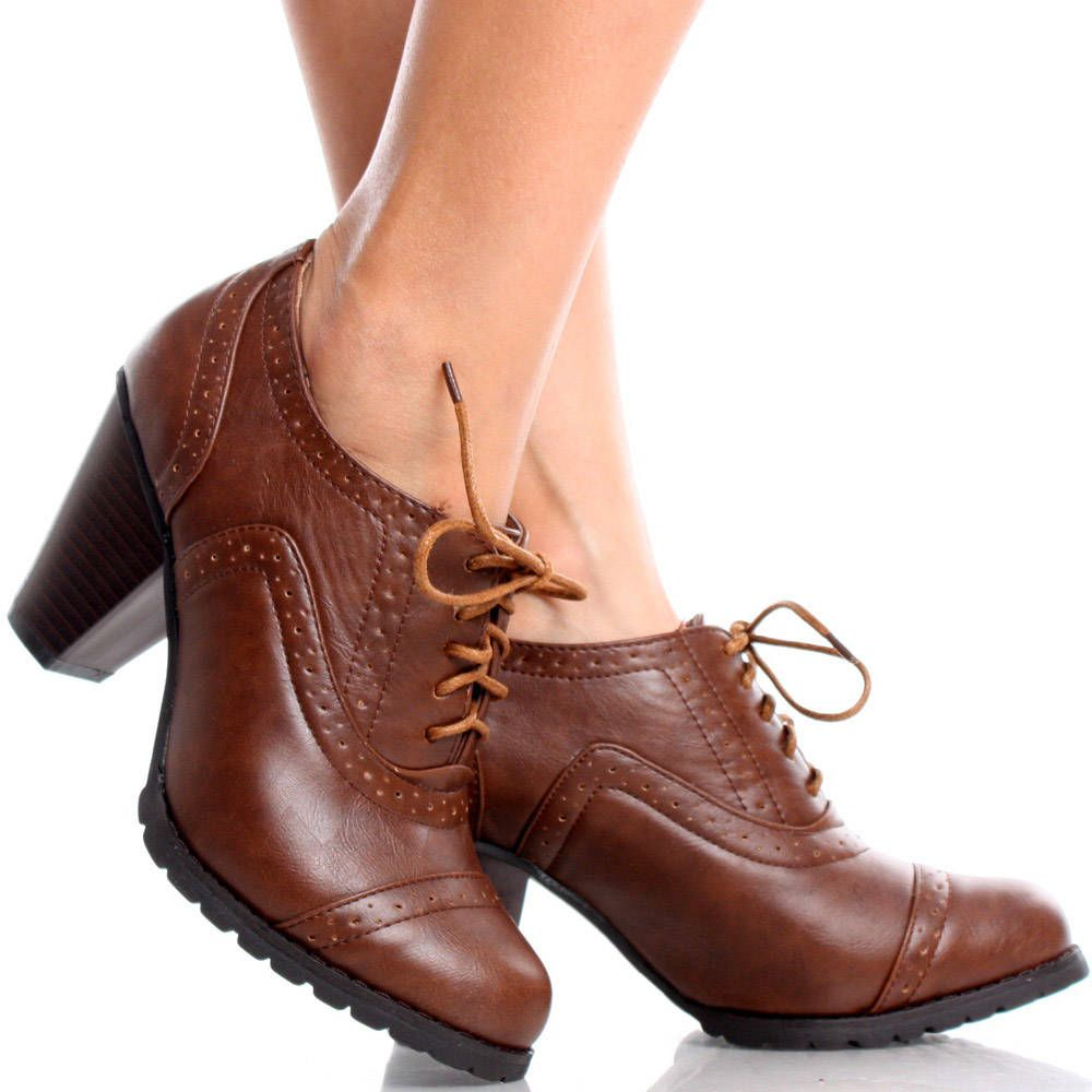 Women's Lace Up High Heel Platform Oxford Boots