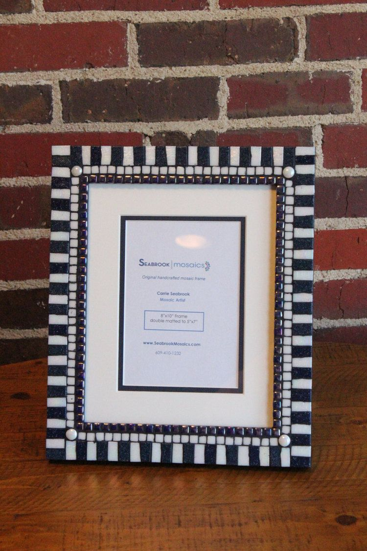 Dark Blue and White (Penn State) - Design 2 - Mosaic Picture Frame