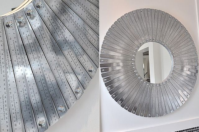 "The Ruler Mirror is 40"" in diameter, weighs 30lbs and is made with 78 stainless steel rulers, 78 nuts and 78 screws."