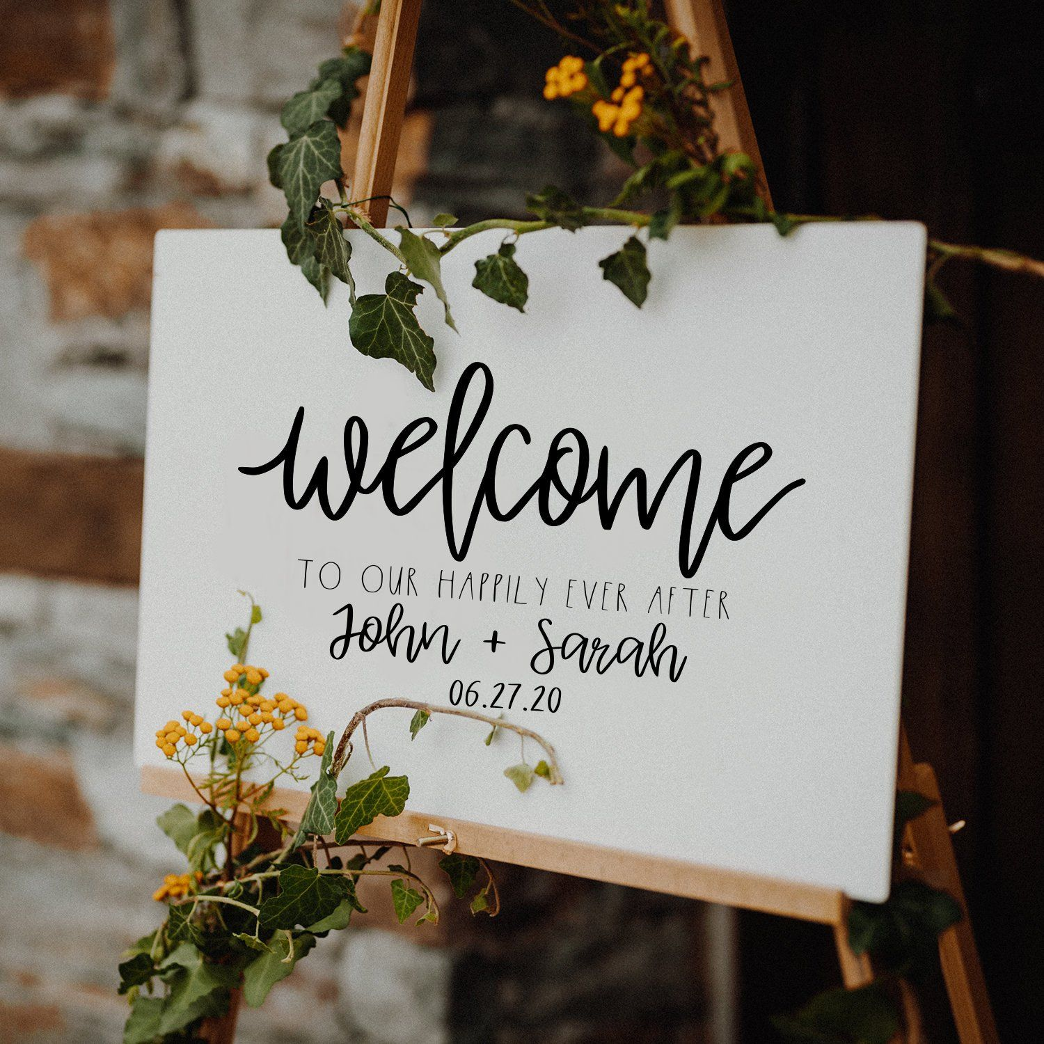 Low Budget Wedding Decorations: Personalized Rustic Welcome To The Wedding Of Sign Decal