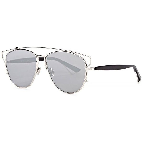 59dc8c129cda5 Womens Aviator Christian Dior Dior Technologic Silver Tone Mirrored...  ( 435) ❤ liked on Polyvore featuring accessories
