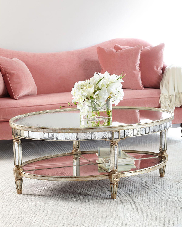 John richard collection keene mirrored coffee table
