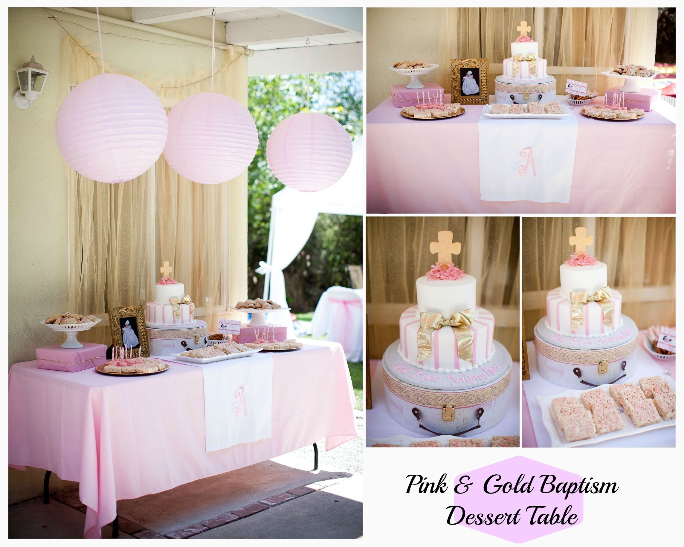 Rustic white amp gold for christian s baptism cake cakes dessert - How To Creat A Simple But Classy Pink Gold Baptism Dessert Table For Any Darling