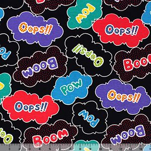 Colorful Boom Pow on Black Cotton Spandex Knit Fabric