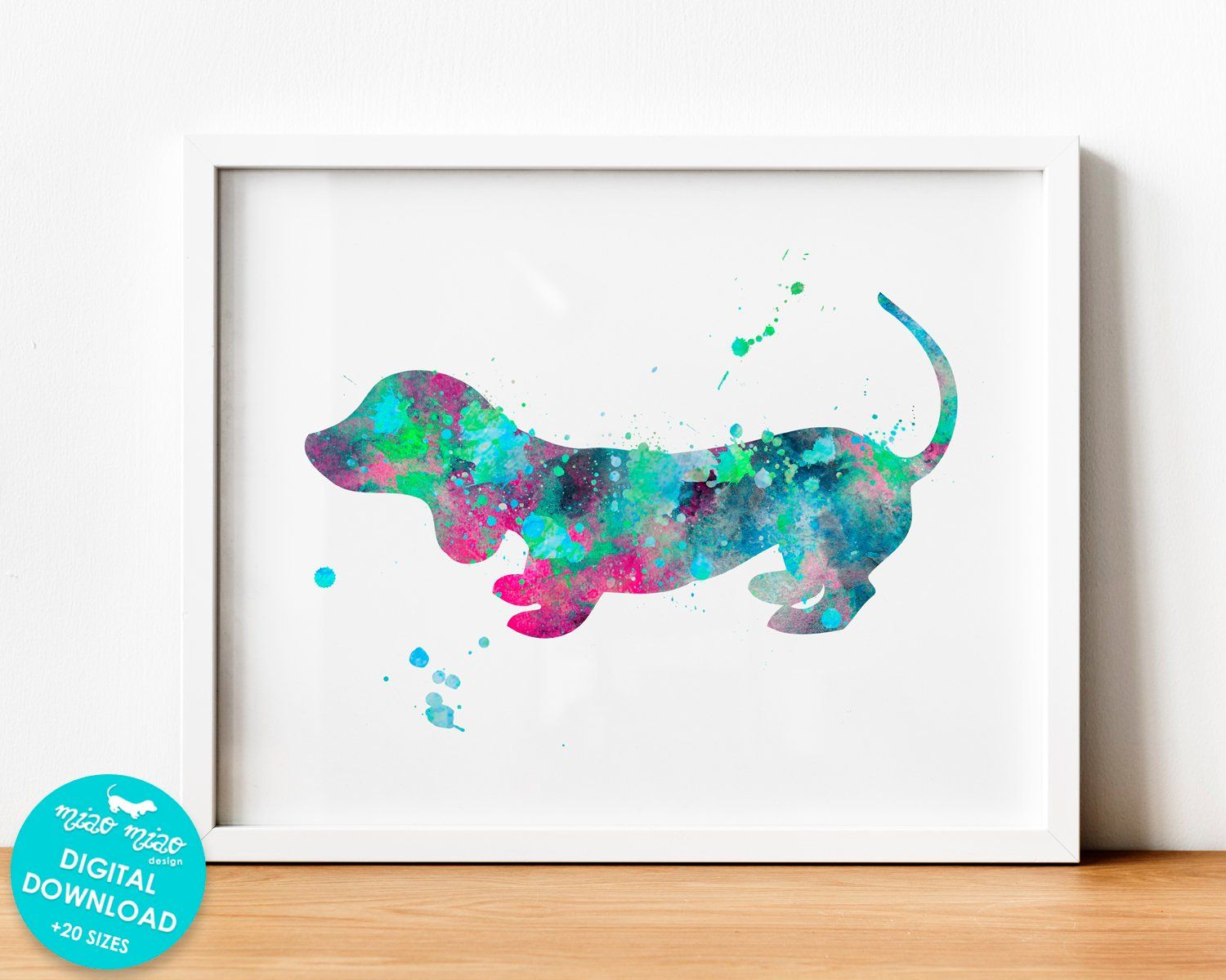 Watercolor Dachshund Printable Wall Art Dog Watercolor Art