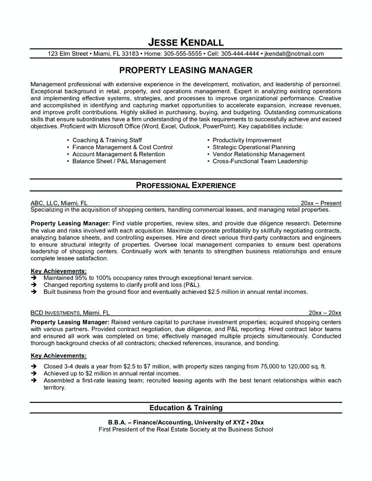 Real Estate Broker Resume Leasing Manager Resume Leasing Agent Resume  Leasing Manager