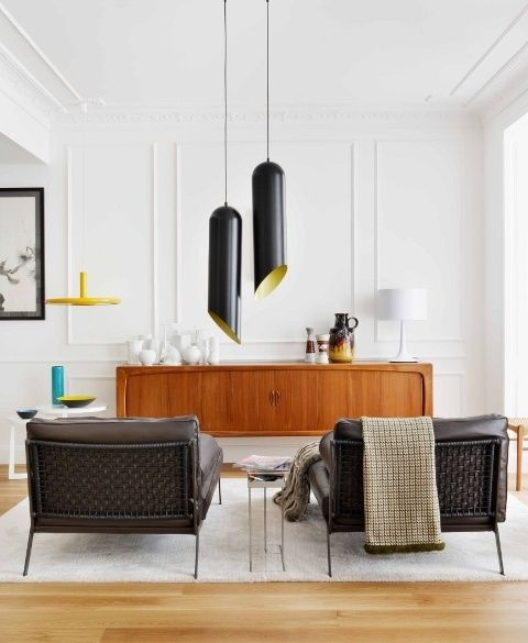 Great Contemporary Living Room With Mid Century Modern Furniture. Love The  Tom Dixon Pendant Lamps!