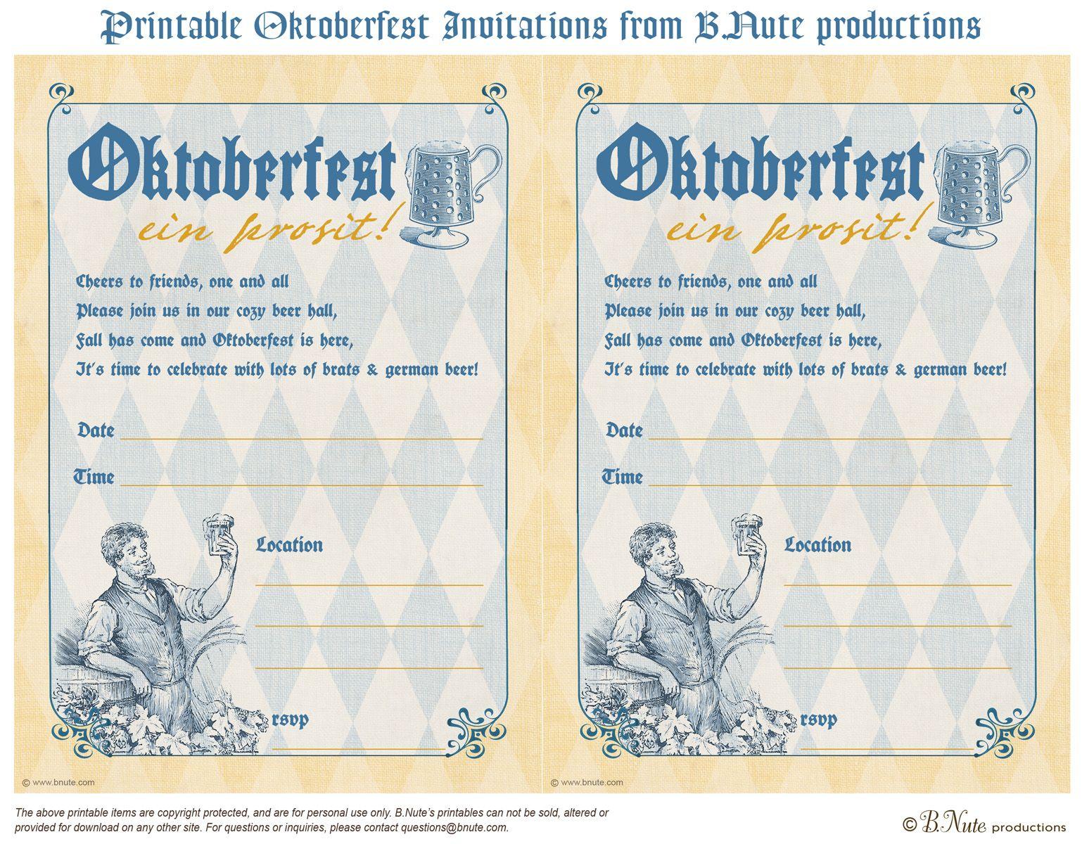 Free Printable Oktoberfest Invitations