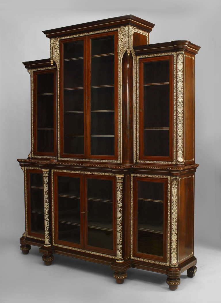 Important and Rare Anglo-Indian Inlaid Rosewood Breakfront Cabinet ...