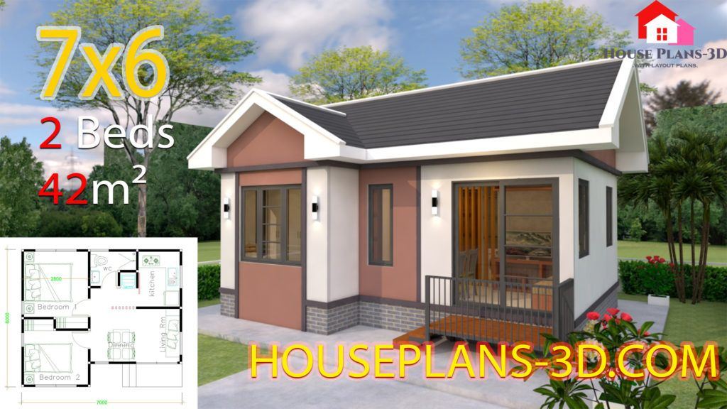 House Plans 10x8 With 2 Bedrooms Shed Roof House Plans 3d Small House Design Plans House Plans Gable Roof House