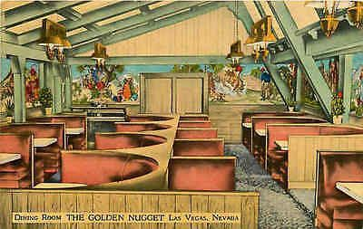 Las Vegas Nevada NV 1940s Golden Nugget Dining Room Collectible Vintage  Postcard