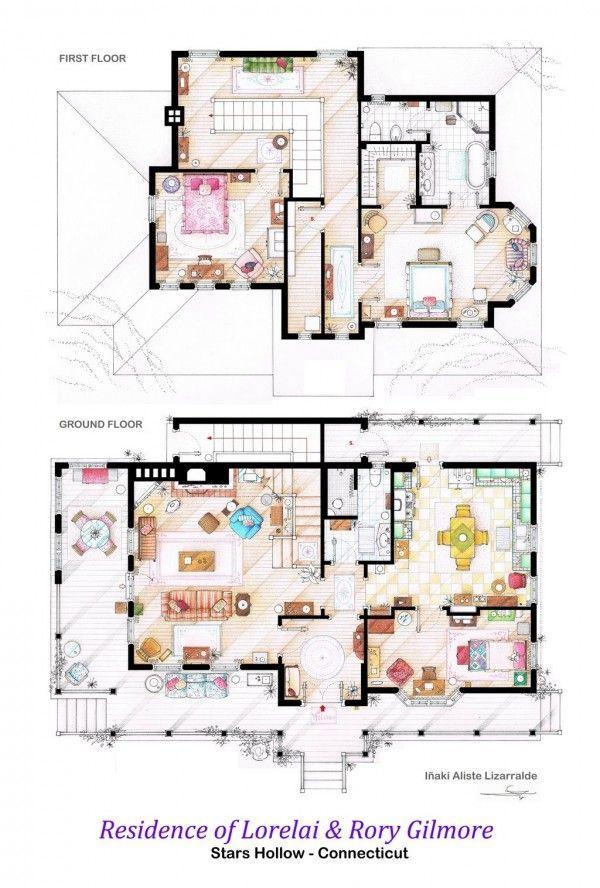 Innenarchitektur skizze grundriss  The Gilmore Girls haus grundrissplan zeichnung | GilmoreGirls ...