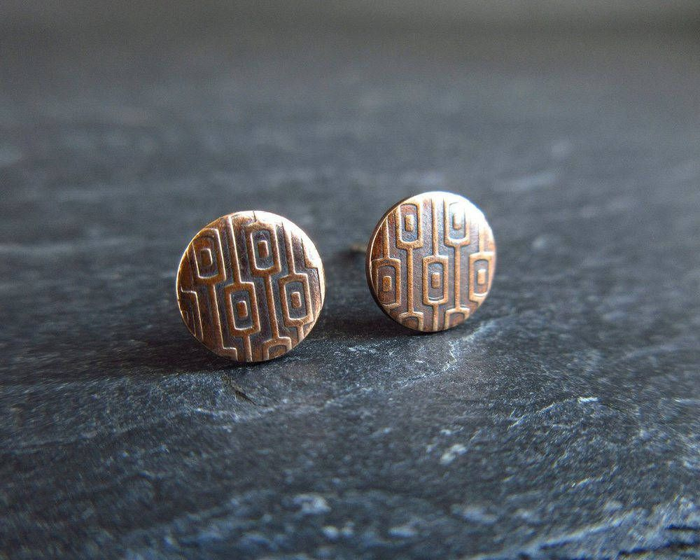Embossed bronze stud earrings, bronze studs, disc earrings