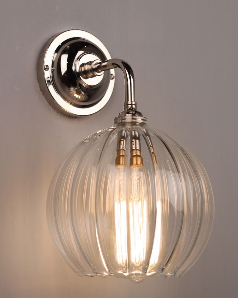 Clear Ribbed Glass Globe Pendant Ceiling Light Hereford Industrial Vintage Designer Retro Style Wall Lights Wall Lights Uk Contemporary Wall Lights