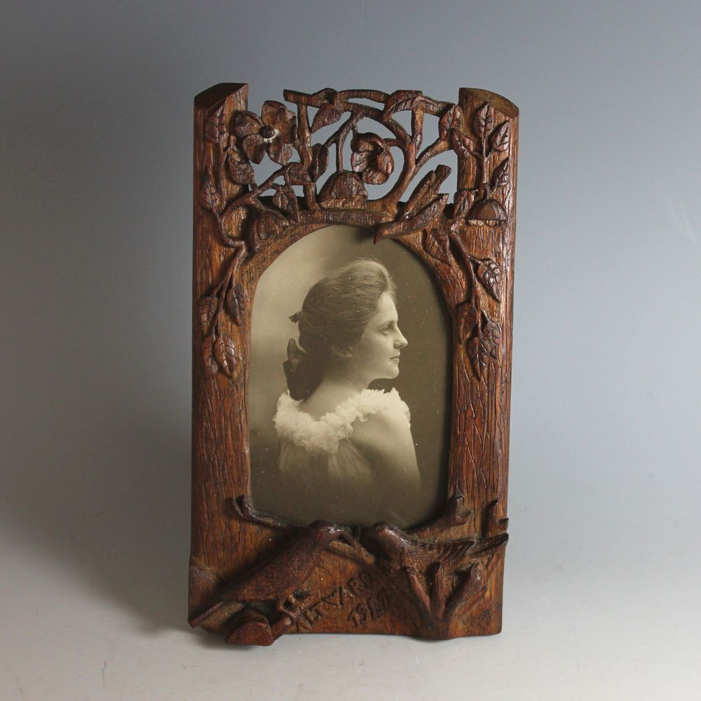 Ww i hand carved wood picture photo frame 1917 trench art trench ww i hand carved wood picture photo frame 1917 trench art trench handmade jeuxipadfo Image collections