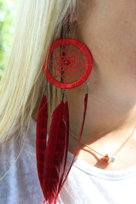 EARRINGS DREAM CATCHER, Present,  Gift for her, Dreamcatcher earrings, Feathers earrings, Long feather earrings, Red earrings,
