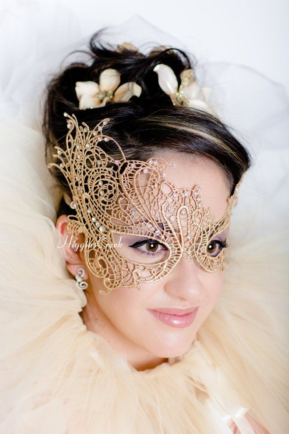 Photo of masquerade mask women lace mask Butterfly Gold Venetian Ball, Halloween, new years eve party celebrations