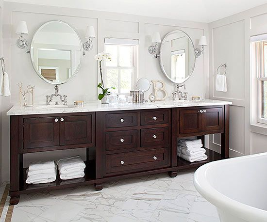 This Double Vanity With The Dark Wood Base And Light Marble Countertop Has A Rich Luxurious Feel