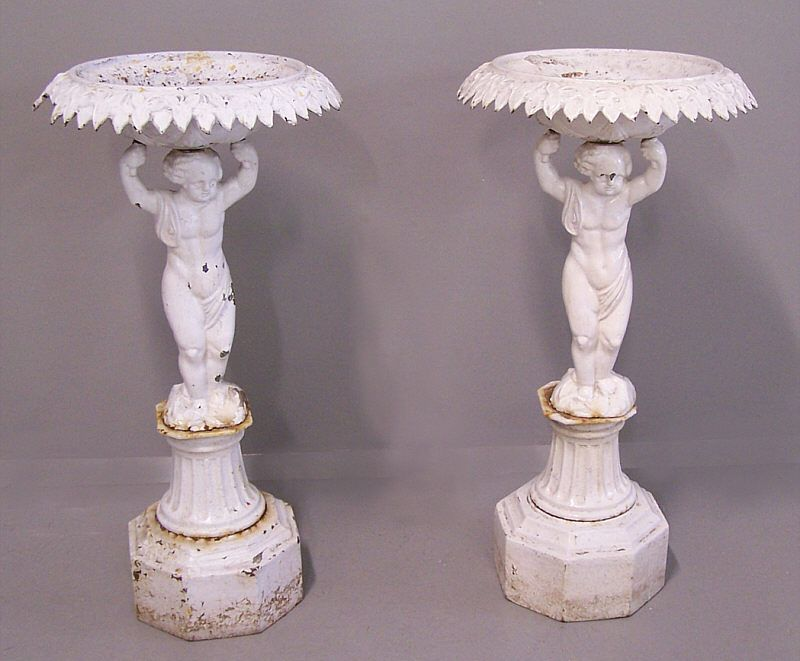 Vintage Cast Iron Urns Pair Of 19th C Cast Iron Planter Urns With Cherub Bases Iron Planters Victorian Gardens Floral Container