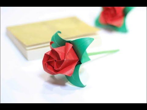 Photo of how to fold roses with colored paper (Rose Paper Folding Origami)