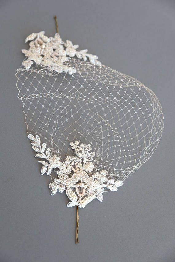 8cf9d1683705da Lace birdcage veil Champagne birdcage veil Wedding veil