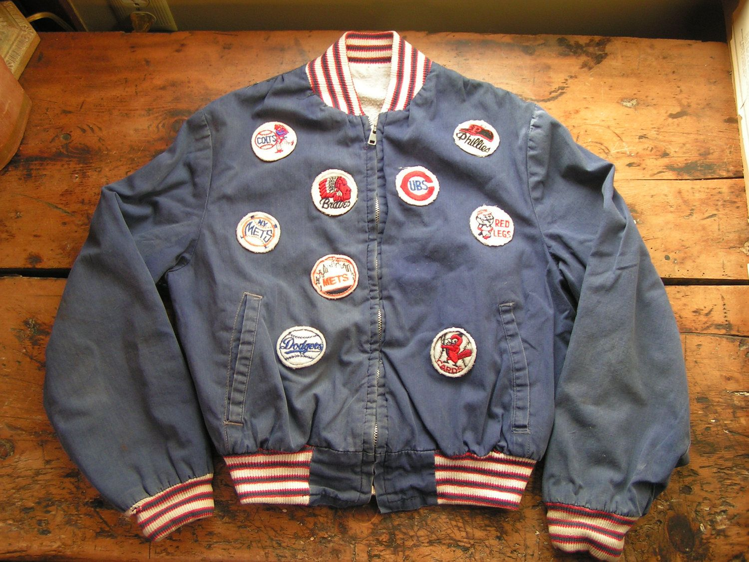 871cd0ee7 Reserved - Vintage Child's Baseball Jacket with Team Patches ...