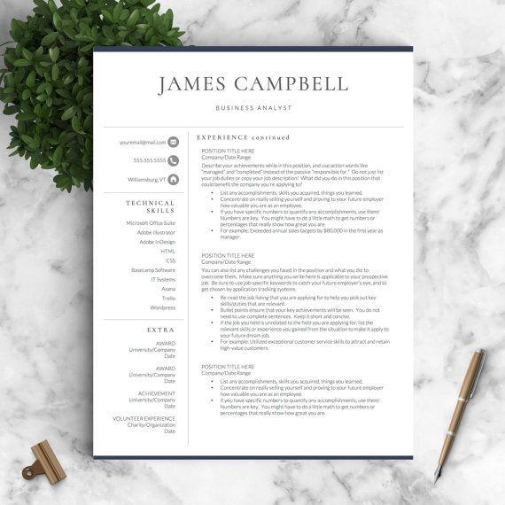 Resume Template Professional Resume Template for Word  Pages +