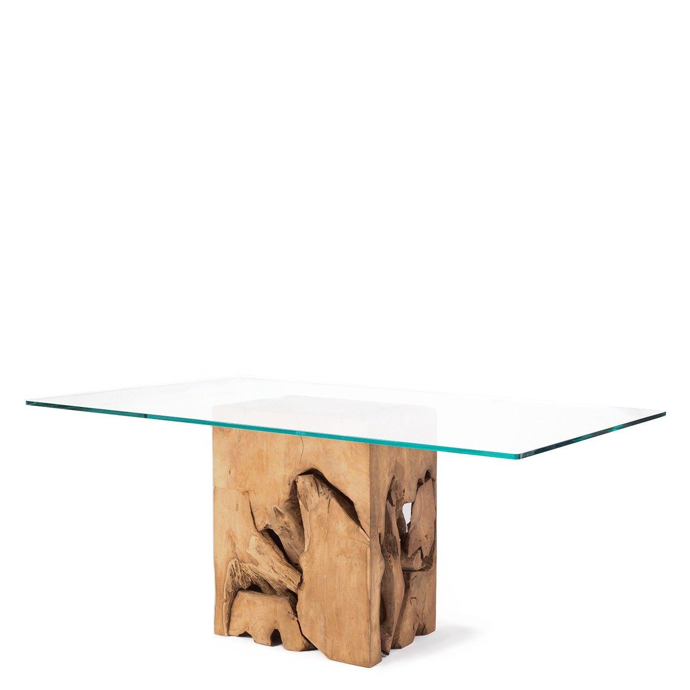 Teak Root Glass Top Dining Table Natural Teak   Raft Furniture  London. Teak Root Glass Top Dining Table Natural Teak   Raft Furniture