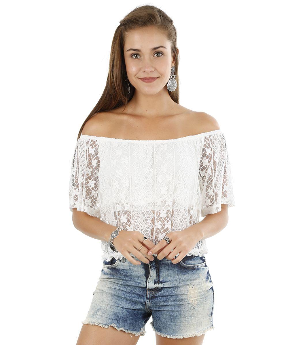 111be2382 Blusa Cropped em Renda Off White - cea   O que vou vestir hoje ...