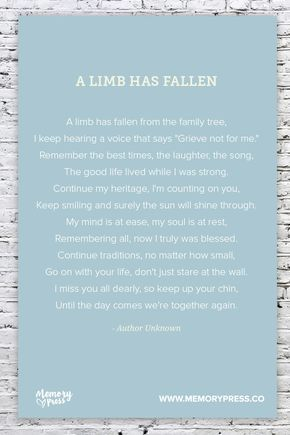 A Limb has Fallen, a Collection of Non-Religious Funeral Poems curated by Memory Press - creators of beautiful, uplifting, and memorable Funeral Programs