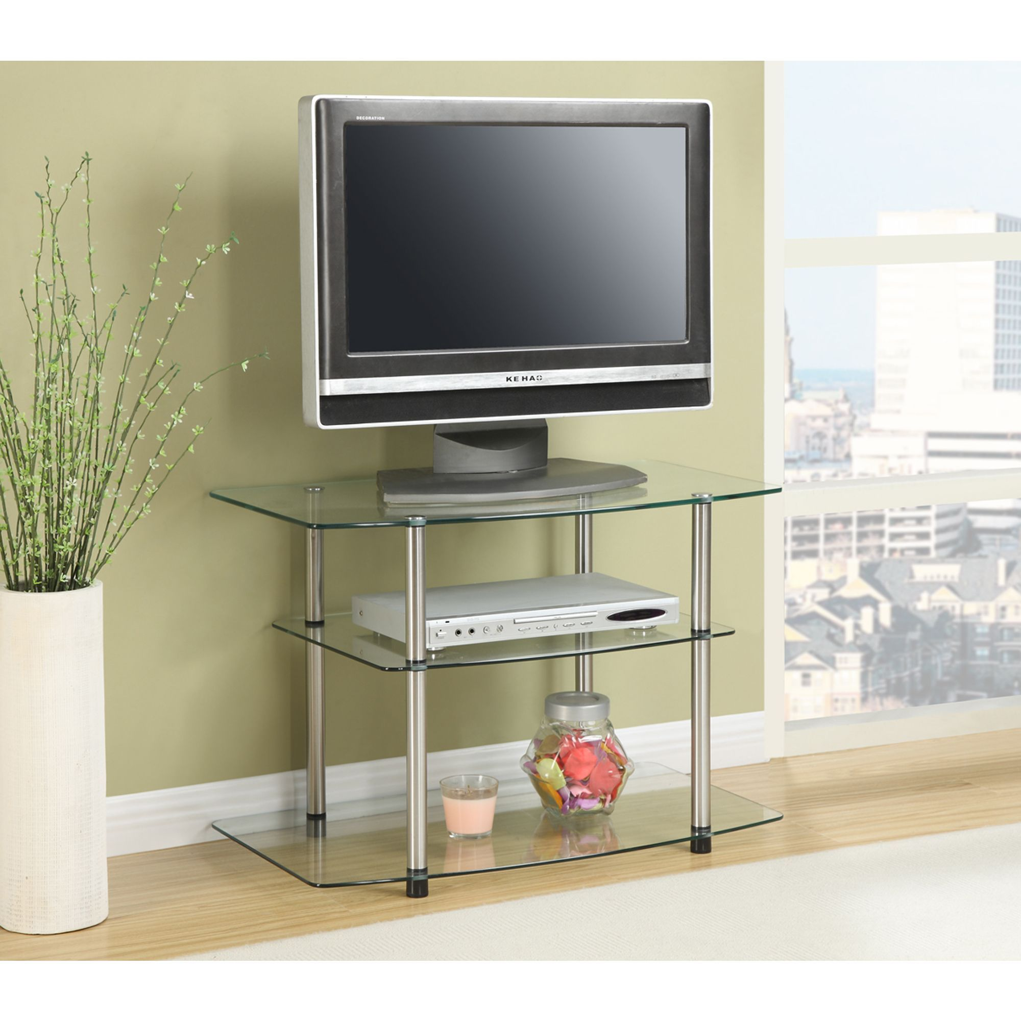 Convenience Concepts Designs2go Classic Glass Tv Stand Clear