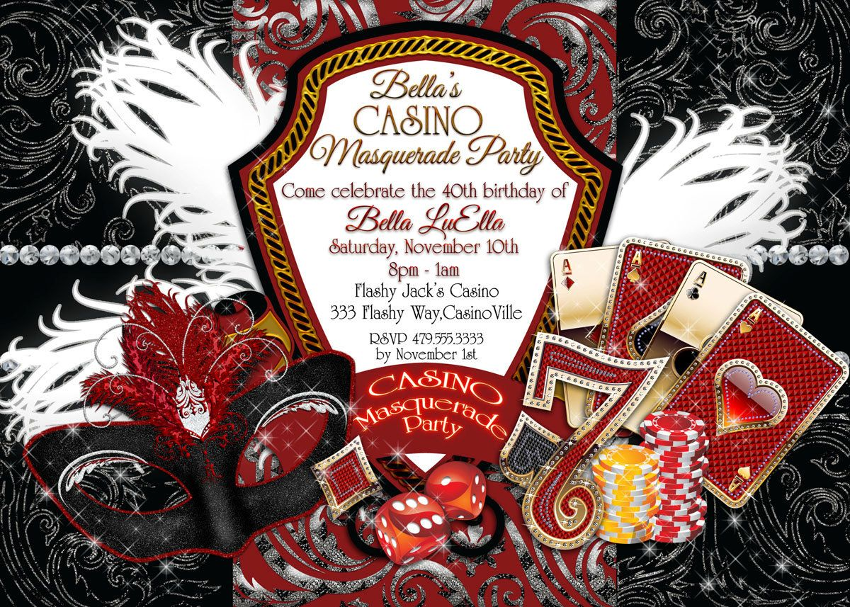 Casino Night Invitations, Masquerade Casino Party, Casino Mardi ...