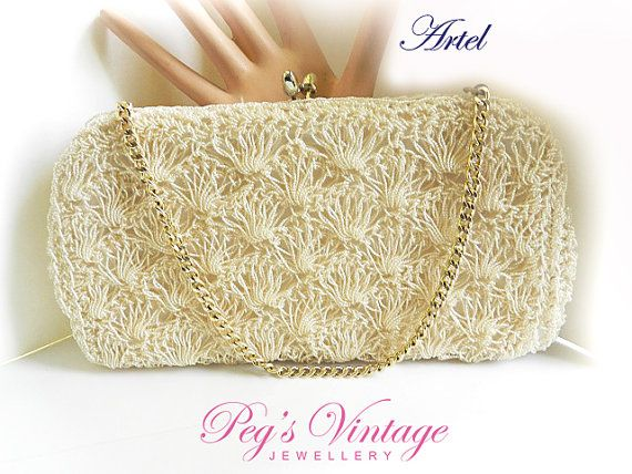 Fully Lined Purse Metal Straps 1980s Beaded Purse Vintage Cream Evening Purse
