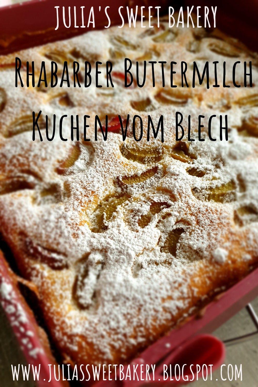 Photo of Rhabarber-Buttermilchkuchen von einem Tablett