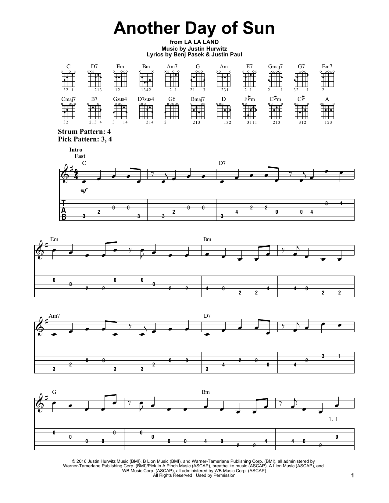 Another Day Of Sun By La La Land Cast Easy Guitar Tab Guitar Instructor Guitar Tabs Easy Guitar Tabs Guitar Tabs Songs