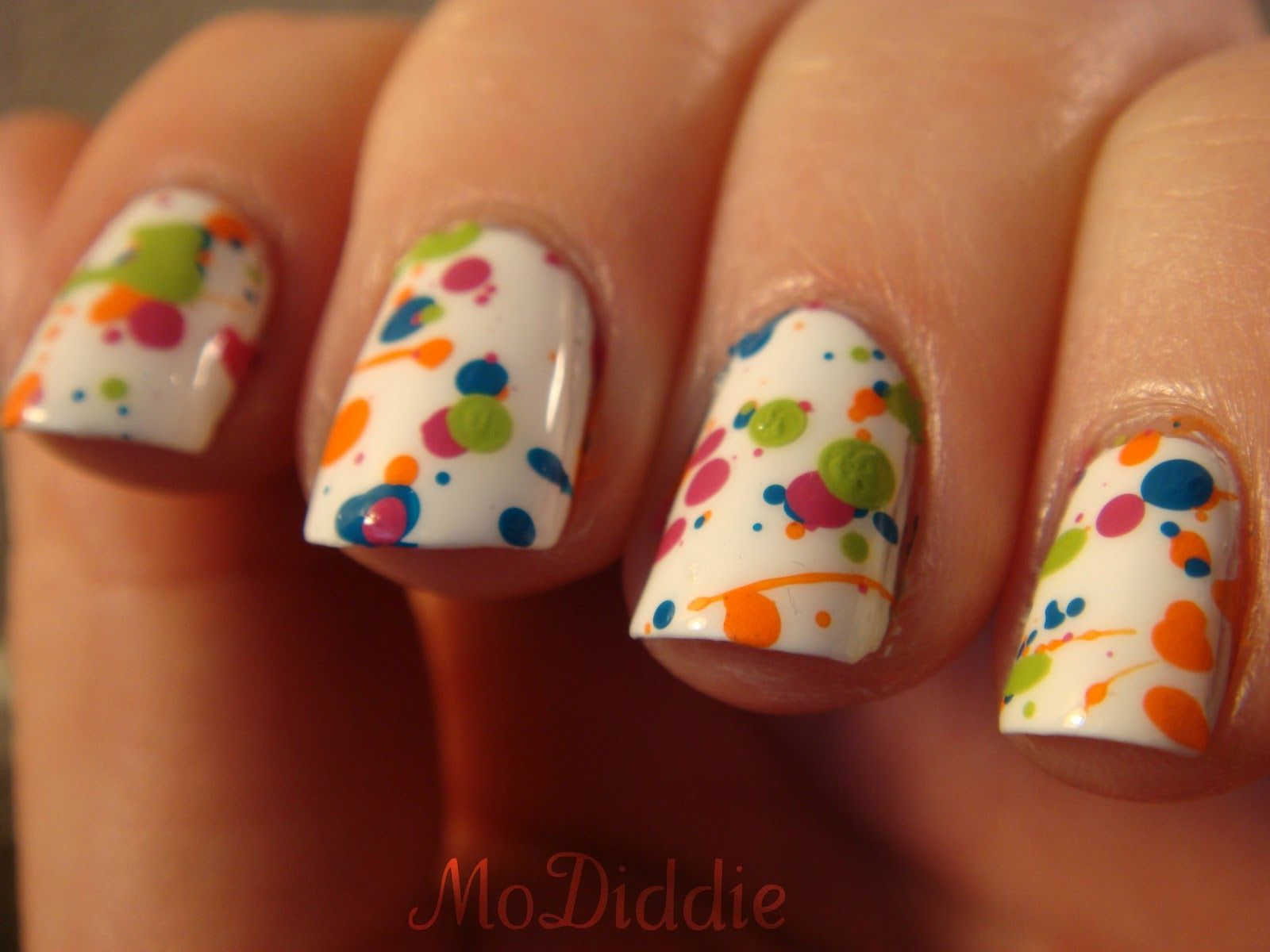 Splatter Paint Nail Art with acrylic and normal polish ...