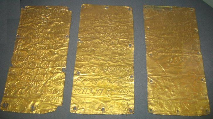 Pyrgi Tablets - The three laminated sheets of gold, two inscribed in Etruscan and one in Phoenician record a dedication made around 500 BC. The dedication was to the Phoenician goddess Ashtaret (Astarte, Ashtoreth), by Thefarie Velianas, King of Caere . The leaves were found in 1964, during the excavation of a sanctuary of ancient Pyrgi on the Tyrrhenian coast of Italy (modern day Santa Severa) - Image credit : Pufacz / October 10, 2007 / Museo di Villa Giulia (The Etruscan Museum in Rome)