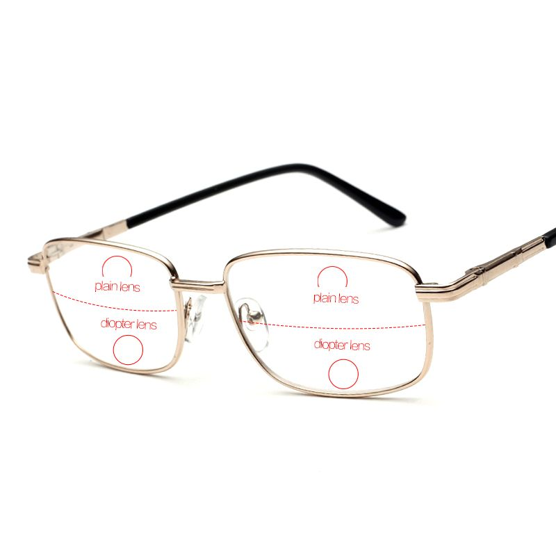 b9184d3c4f1 Rimless Bifocal Reading Glasses Men Slim Eyewear For Reader Men s Diopter  Eyeglasses Male Read Points Grade 1.0 1.5 2.0 2.5 Free