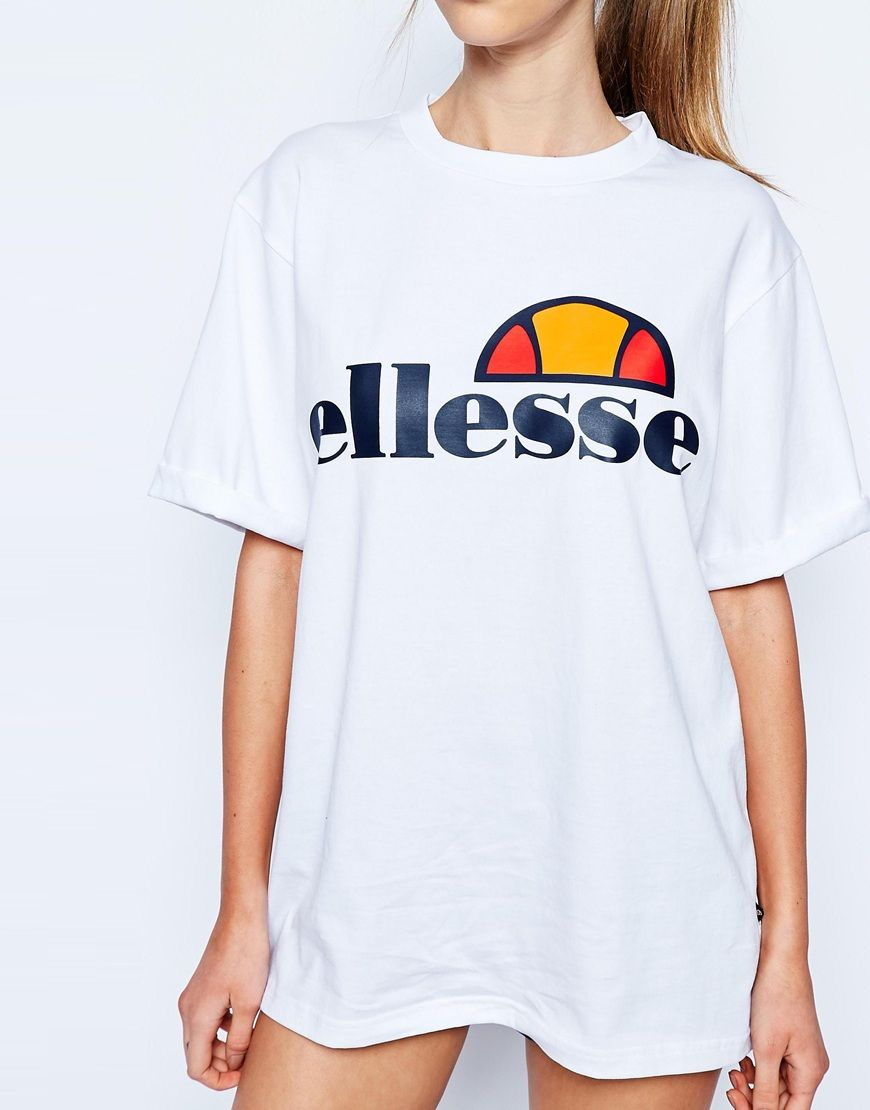 Ellesse t shirt white womens - Image 3 Of Ellesse Oversized Boyfriend T Shirt With Front Logo