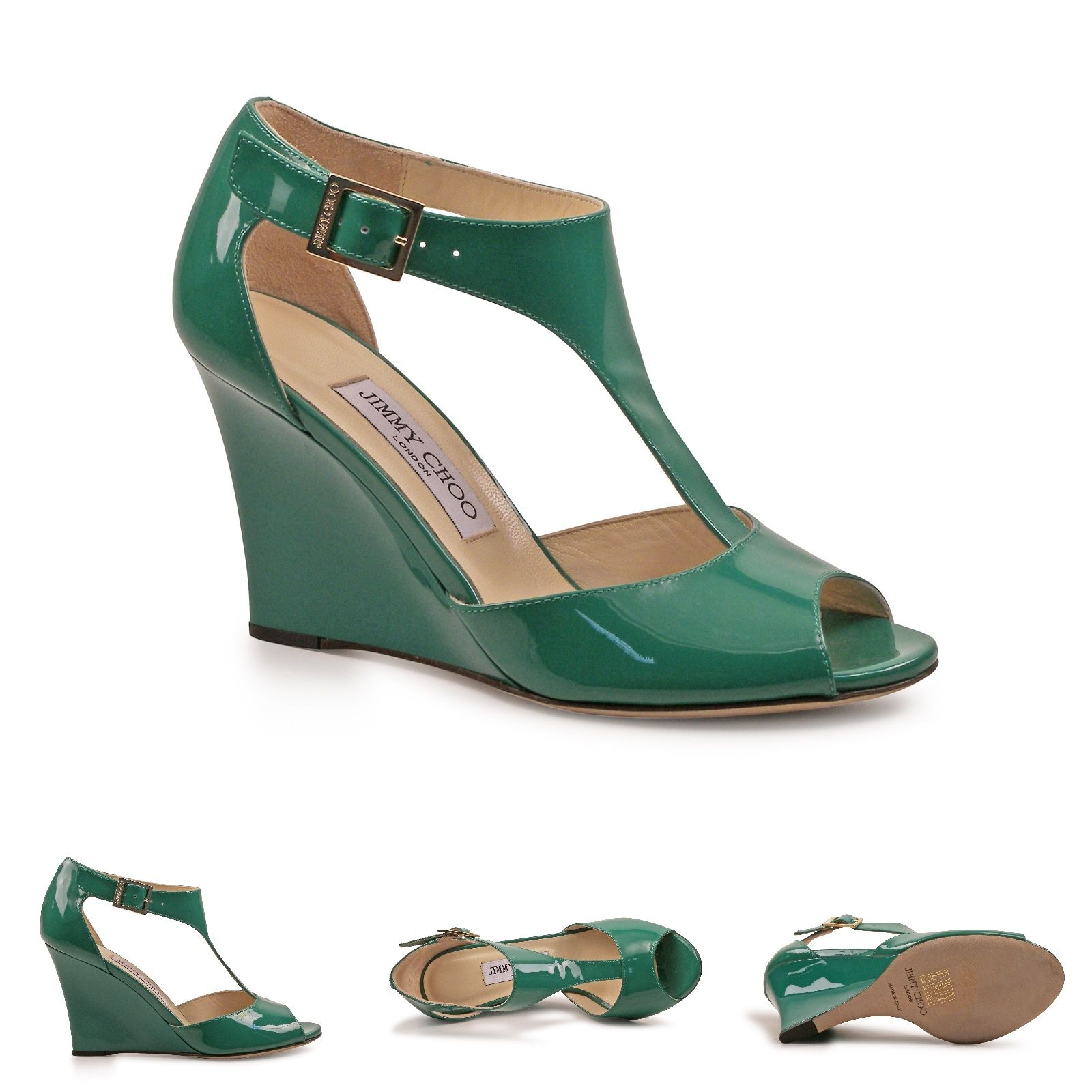 ee5efbc635f9 Jimmy Choo Emerald green Patent Leather wedges sandals open toe ...